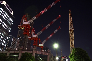 Three cranes in the Tokyo night sky.