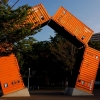 A pentagon shaped sculpture of shipping containers, Yamashita Park, Yokohama.